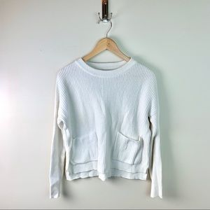 Madewell White Two Pocket Crew Neck Sweater